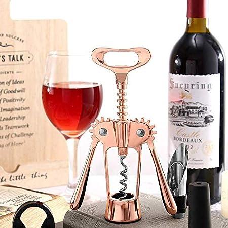 AILSAYA Sacacorchos del Vino, Manual De Gama Alta De La Botella De Vino del Abrelatas del Sacacorchos Tapón De La Botella Remover for All Vino Y Cerveza (Rosa De Oro)