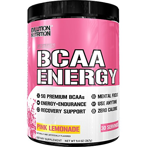 Evlution Nutrition BCAA Energy - High Performance, Energizing Amino Acid Supplement for Muscle Building, Recovery, and Endurance (Pink Lemonade, 30 Servings) by Evlution