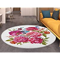 Shabby Chic Round Rugs for Bedroom Gentle Summer Flora Hyacinths Blackberry and Peonies Victorian Style Vegetation Circle Rugs for Living Room Multicolor