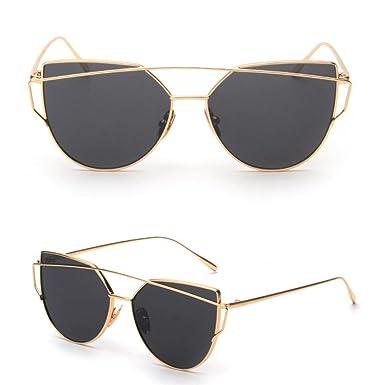 gafas de sol mujer hombre, Sannysis Gafas de sol de espejo con marco de metal Clásico ...