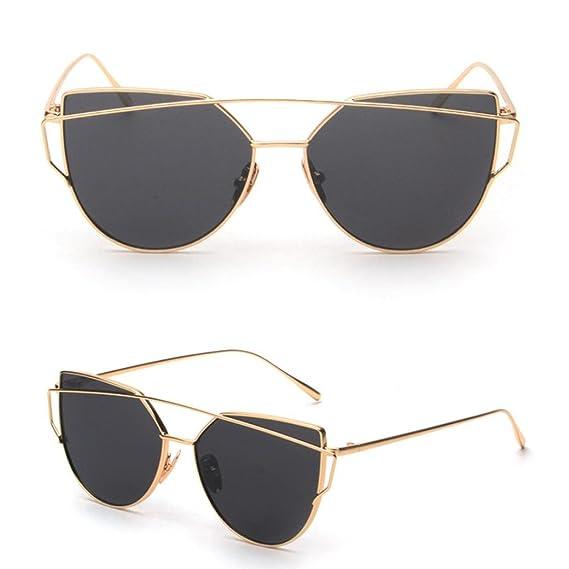 gafas de sol mujer hombre, Sannysis Gafas de sol de espejo con marco de metal Clásico Gafas de ojo de gato moda Gafas de Sol Polarizadas Aviador ...