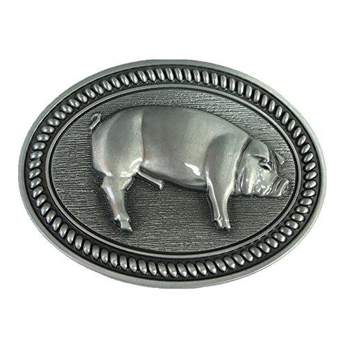Vintage Westerm Silver Wild Boar Pig Bush Hog Farm Animal Belt Buckle Men Cowboy (Wild Native American Outdoors Knife)
