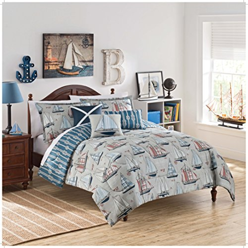 (WAVERLY Kids Set Sail Reversible Bedding Collection, Twin, Multicolor)