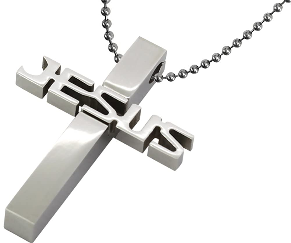 20 24 28 Men or Women Set Jesus Cross Pendant Bead Ball Chain Stainless Steel