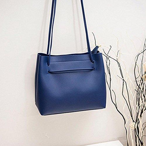 YJYdada Fashion Women Leather Crossbody Bag Shoulder Bag Handbag Totes Bucket Bag (Blue) (Vuitton Louis Bucket)