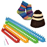 Long Knitting Loom Set -4 Different Looms with Hook and Needle - DIY Scarf Shawl Hat for Best Gifts
