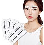 FOK, PLASTIC Eyebrow Card Shaping Stencil Sticker Grooming Kit Reusable Makeup Shaper for Women, (White)-12 Pair