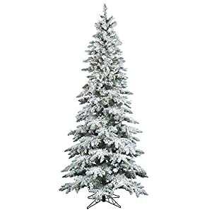 Vickerman Flocked Slim Utica Tree with Dura-Lit 300 Clear Lights 3