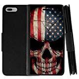 TurtleArmor | Compatible for Apple iPhone 8 Plus Case | (5.5') | Protective Flip Leather Wallet Case Stand Cover with Card Slots - US Flag Skull