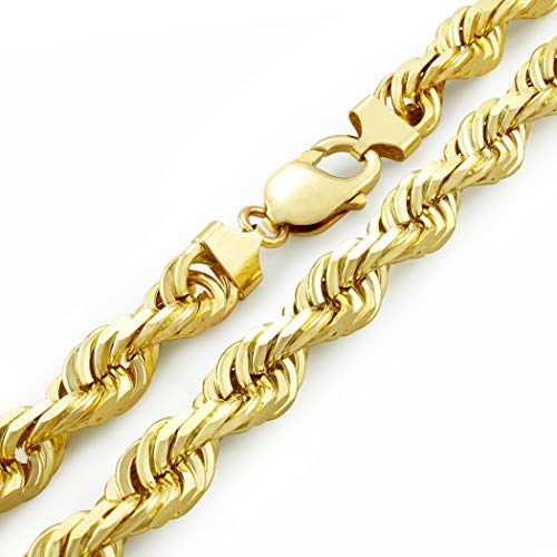 Men's 14k Yellow Gold Solid 10mm Diamond Cut Rope Chain Necklace, 24