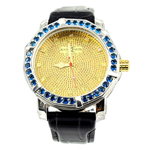 Mens White Gold Finish Leather Band Real Diamond Khronos Joe Rodeo Wrist Watch