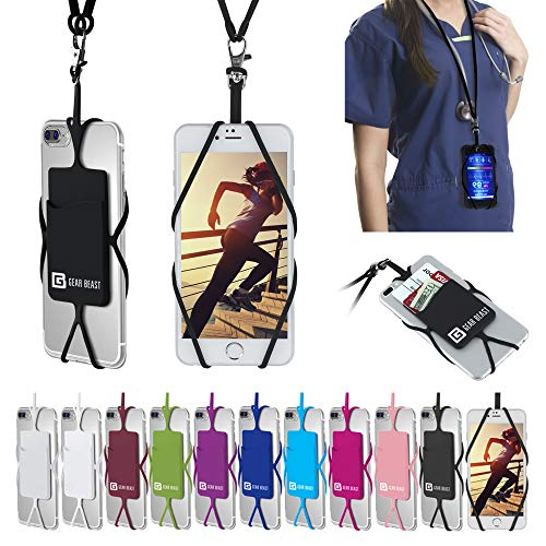 (Gear Beast Universal Cell Phone Lanyard Compatible with iPhone, Galaxy & Most Smartphones Includes Phone Case Holder with Card Pocket, Silicone Neck Strap)