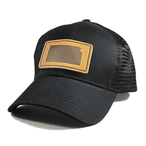 Homeland Tees Men's Kansas Leather Patch All Black Trucker Hat