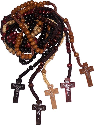 (Five Rosaries : Black, Tan, Ivory, Brown and Maroon Colored Wooden Beads Rosary Necklaces with Jesus Imprint Cross)