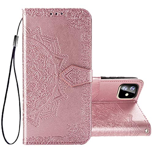 I Phone 11 case Compatible with Apple iPhone 11 case Kickstand Card Holder flip xphone lphone 11 Cover Luxury Floral Skin Coque i-Phone iphe ip11 iphone11 iph11 2019 Bumper 6.1 inch (Rose Gold) (Coque Iphone)