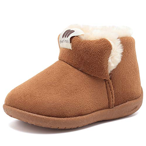 (CIOR Baby Toddler Snow Boots Boy Girl's Prewalker Shoes Anti-Skid Soft Sole Warm Winter Infant Booties 001,Light Tan,25)