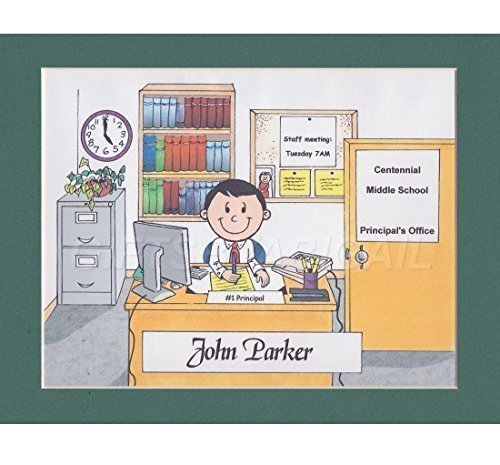 School Principal Gift Personalized Custom Cartoon Print 8x10, 9x12 Magnet or Keychain by giftsbyabigail