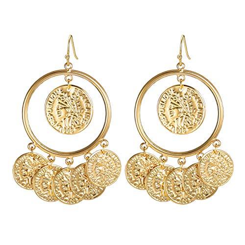 FAMARINE Vintage Tribal Chandelier Portrait Coins Drop Dangle Earrings for Women Costume Jewelry Gold ()