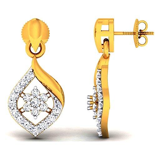 JewelsForum 14Kt Yellow Gold Drop Danglers Diamond Earrings 0.38 Carat TCW by JewelsForum