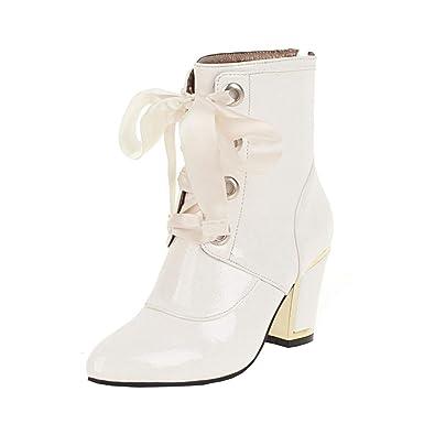 2c903b75e1 YE Damen High Heels Stiefeletten Blockabsatz Lack Ankle Boots  Reißverschluss 8cm Absatz Winter Schuhe(Weiß