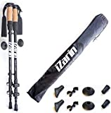 iZarin Ultralight Trekking Poles with Cork Grips - Collapsible, Lightweight, Aluminium Hiking / Nordic Walking Sticks with Carry Travel Bag & All Season / Terrain Accessories / for Men & Women