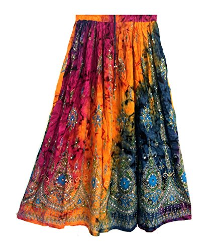 Femme colore Femmes Indian Boho Hippie Gypsy Sequin Summer Sundress Maxi Belly Dance Skirt (8 - 1)