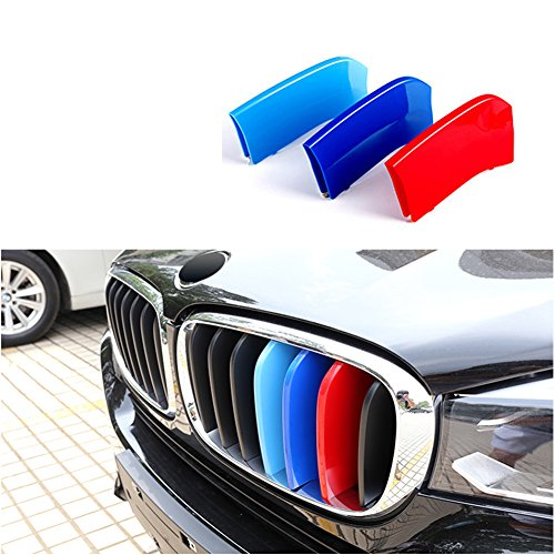 Car Front Grille Strip Insert Trim Cover for BMW 3 Series F30 13-17 3D M-Colored Stripes(11 Beams) ()
