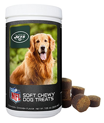 NFL New York Jets Soft Chewy Dog Treats - Chicken Flavored Snack - Small Medium or Large Pets - Training Reward - 7oz or Approx 100 Chews – Low Calories 4 per