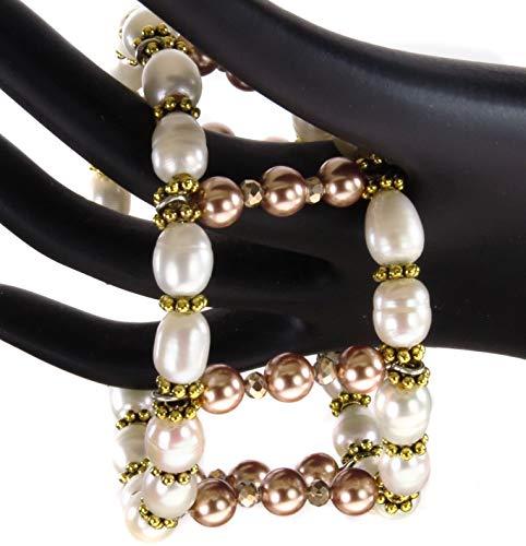 - Handmade Cuff Bracelet Cultured Freshwater Pearls Rose Gold Swarovski Pearls Crystals Jewelry Wedding Bracelet