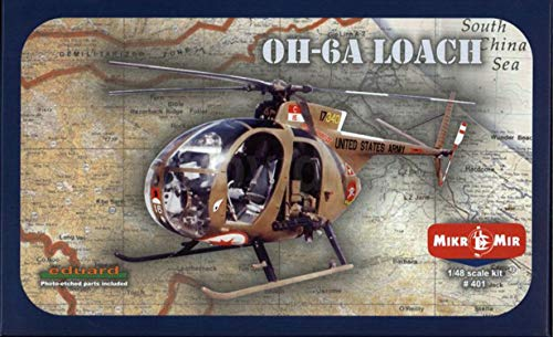 Mikro Mir 48-001 – 1/48 OH-6A Loach Light Attack Helicopter, Plastic Model kit