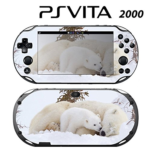 Decorative Video Game Skin Decal Cover Sticker for Sony PlayStation PS Vita Slim (PCH-2000) - Sweet Baby Polar Bear Cub with Mom -  Decals Plus