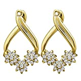 1/2 ct. Cubic Zirconia Flower Earring Jackets in Yellow Plated Sterling Silver (0.51 ct. twt.)