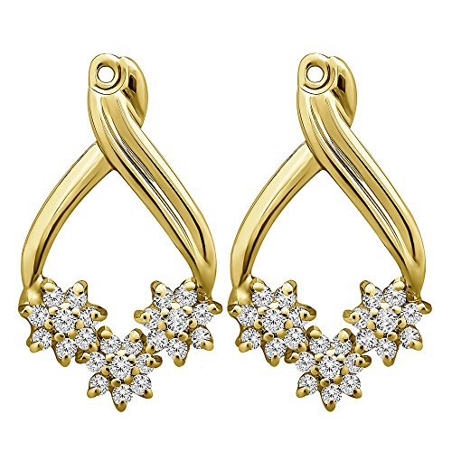 1/2 ct. Cubic Zirconia Flower Earring Jackets in Yellow Plated Sterling Silver (0.51 ct. twt.) by TwoBirch
