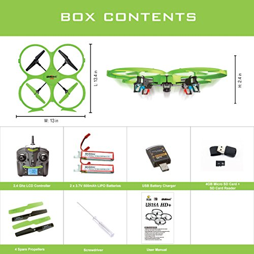 UDI 818A HD + Upgrade - RC Quadcopter Drone with Camera 720p HD - Headless Mode and Return Home Function - Do 360° Flips - BONUS BATTERY Doubles Flying Time - (USA Toyz Exclusive)