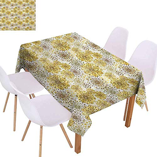 Marilec Fabric Dust-Proof Table Cover Floral Cute Artistic Blossoms Petals Modern Dots Abstract Bedding Plants Gardening Party W52 xL70 Khaki Brown White ()