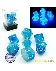 Bescon Gemini Gloeiende Polyhedral Dobbelstenen 7 stks Set ICY ROCKS, Lichtgevende RPG Dobbelstenen Set d4 d6 d8 d10 d12 d20 d%, Bakstenen Doos Verpakking