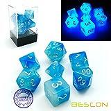 BESCON DICE Bescon Gemini Glowing Polyhedral Dice 7pcs Set ICY ROCKS, Luminous RPG Dice Set d4 d6 d8 d10 d12 d20 d%, Brick Box Packaging