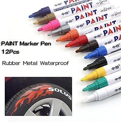 12 colores neumático Pen pintura rotulador para neumáticos de automóvil permanente y resistente al agua secado
