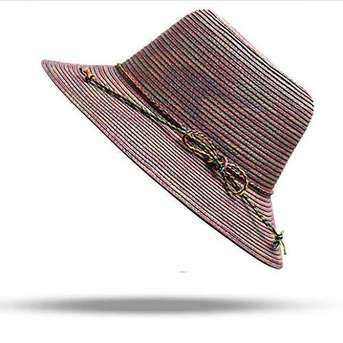 Women Summer Sun Caps Ribbon Round Flat Top Beach Fashion Straw Hats