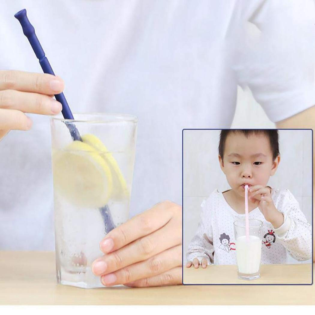 ICCUN Food Grade Silicone Straw Safe Healthy Reusable Folding Straw Muddlers by ICCUN (Image #5)