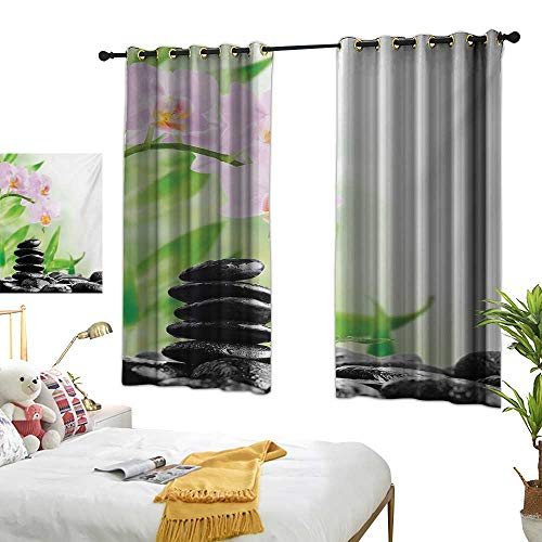 (LsWOW Bedroom Curtains W72 x L63 Spa,Zen Basalt Stones and Orchid with Dew Peaceful Nature Theraphy Massage Meditation,Black Pink Green Curtains 2 Panel Set for)