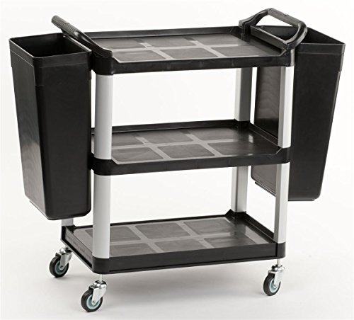 Displays2go 3-Tiered Bus Cart with 2 Rubbish Bin Attachments, 2 Side Handles and Swiveling Wheels, Aluminum & Plastic (Black) - Small