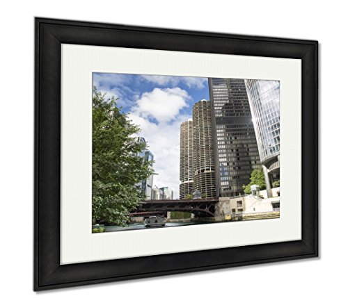 Ashley Framed Prints Chicago Downtown And The Michigan Avenue Bridge Officially Dusable Bridge, Modern Room Accent Piece, Color, 34x40 (frame size), Black Frame, - Chicago On Shops Michigan Avenue