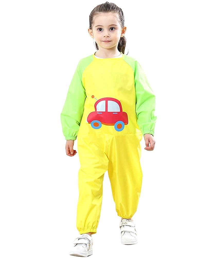 Flairstar Vestiti della Pittura Impermeabile di Onesies del Fumetto delle Maniche Lunghe dei Bambini Giocano Vestiti