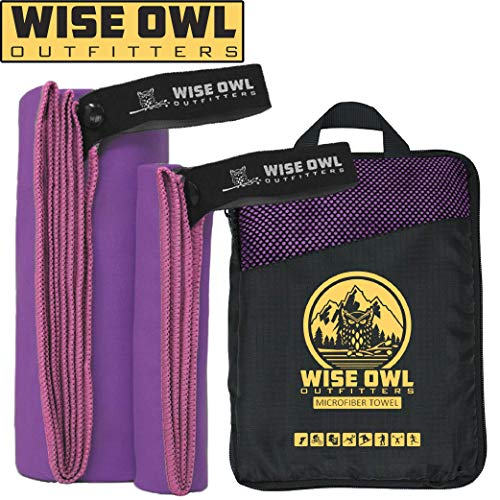 Wise Owl Outfitters Camping Towel - Ultra Soft Compact Quick Dry Microfiber Best Fitness Beach Hiking Yoga Travel Sports Backpacking & The Gym Fast Drying, Free Bonus Washcloth Hand Towel LG Purple (Best Way To Dry Dishes)
