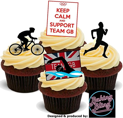 12 x Olympics TRIATHLON Support TEAM GB Sports Mix - Fun Novelty PREMIUM STAND UP Edible Wafer Card Cake Toppers Decoration (Gb Triathlon)