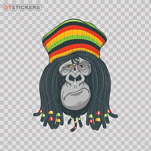(Decal Stickers Jamaican Rasta Gorilla Motorbike Boat resting president ape sign (4 X 2,99 Inches) Fully Waterproof Printed vinyl sticker)