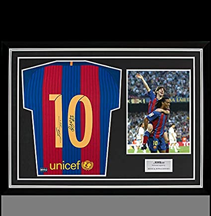 02f1f445d Image Unavailable. Image not available for. Color  Lionel Messi    Ronaldinho Back Autographed Signed Barcelona Home Shirt ...