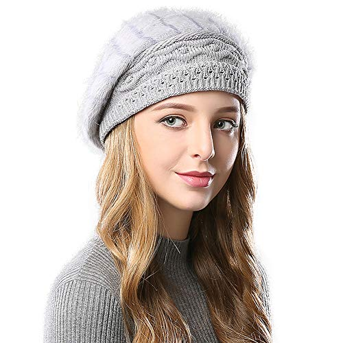 Janey&Rubbins Furry French Beret for Women Warm Fleece Lined Knit Paris Mime Hat Winter Slouch Beanie (Grey)