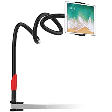 EasyAcc Premium Gooseneck Cellphone Holder/iPad Stand/Tablet Mount for iPhone/Galaxy/Hawei/OnePlus 6/iPad Pro 9.7/Tablets Mount for 4-10.6 Devices 360 Rotating - Black Red